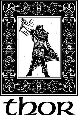 Woodcut style image of the Viking God Thor in a Celtic border