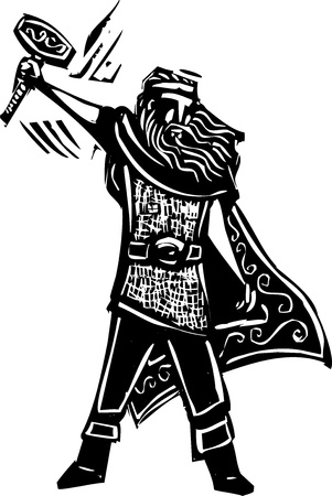 Woodcut style image of the Viking God Thor