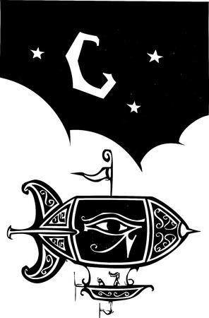 blimp: Grabado en madera estilo dirigible con el ojo de Horus vuela de noche Vectores