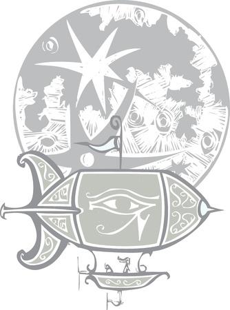 ojo de horus: Dirigible no r�gido estilo de grabado con el ojo de Horus vuela Vectores