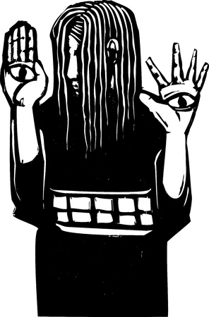 Woodcut expressionist style blind girl with eyes on her hands