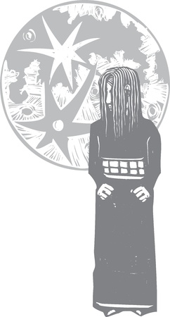 shyness: Woodcut style shy sad girl with moon behind her  Illustration