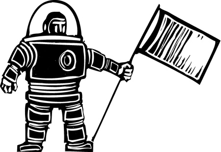 Woodcut style retro astronaut with a flag