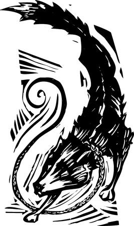 바이킹 신화의 목 판화 스타일 이미지