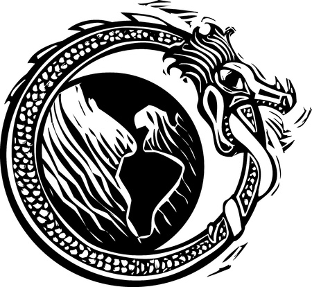 Woodcut style image of the viking Norse midgard serpent circling the earth