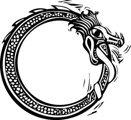 Woodcut style image of the viking Norse midgard serpent Vectores