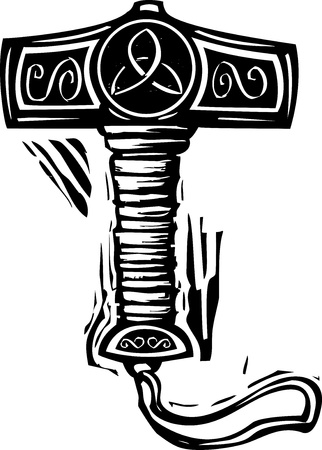 Woodcut style image of the viking Norse Thor's hammer Mjolnir.