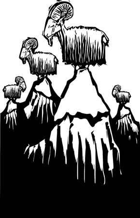 billy: Woodcut style image of mountain goats perched on mountain peaks