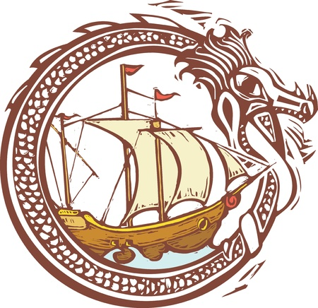 Woodcut style image of a dragon encircling a pirate ship  Illustration