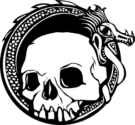 Woodcut style image of a human skull and a dragon
