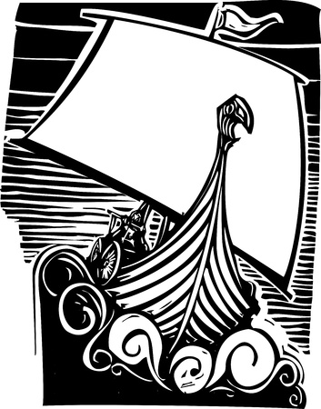 Woodcut style image of a viking longship sailing into the waves at night  Vectores