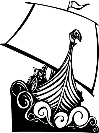 Un'immagine stile xilografia di un drakkar vichingo vela tra le onde