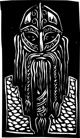 Woodcut style image of a bearded viking man in armor