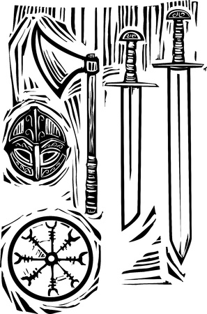 Woodcut style image of viking weapons and armor