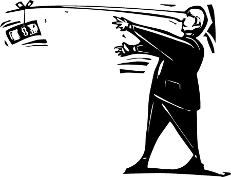 corruption: Woodcut expressionist style image of a banker following a dollar on the end of his long nose