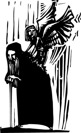 Woodcut expressionist style image of a Young angel emerging from the back of an old man