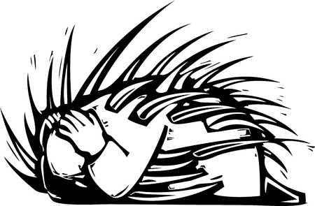 Woodcut expressionist style image of a man cowering on the ground with spines coming out of him