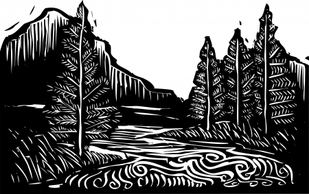 Woodcut style expressionist landscape with trees and river