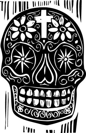 dia de muertos: Grabado en madera de estilo mexicano día del cráneo muerto
