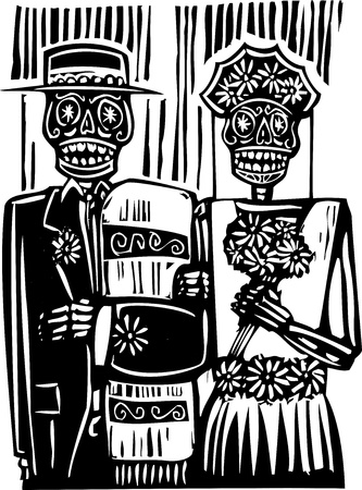 woodcut style Mexican day of the dead wedding image with groom and bride  Vectores