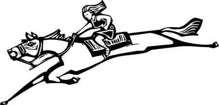 Woodcut style image of a girl riding a horse  向量圖像