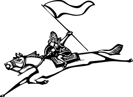 Woodcut style image of a Norse Valkyrie riding a horse and holding a flag