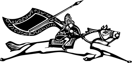 Woodcut style image of a Norse Valkyrie riding a horse waving a spear  Illustration