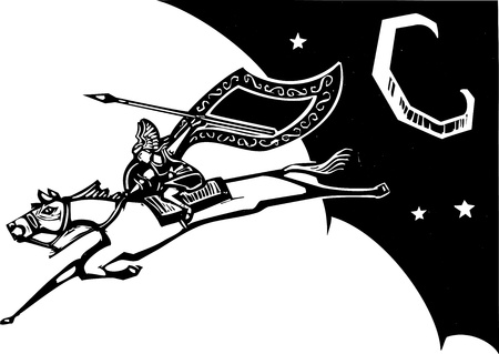 Woodcut style image of a Norse Valkyrie riding a horse and flying in the sky  Illustration