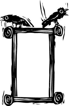Woodcut expressionist style crows or ravens sitting on the top of a frame  Illustration