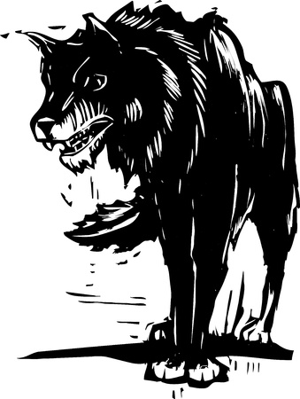 Woodcut style image of a big black wolf