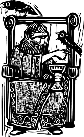 Woodcut expressionist style image of the Norse god Odin or Wotan sitting on a throne with his ravens