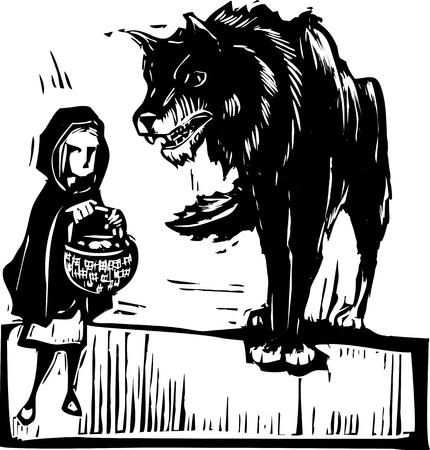 Houtsnede stijl expressionistisch beeld van kleine Roodkapje aan de grote boze wolf Stock Illustratie