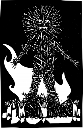 Woodcut style expressionist image of pagan Celtic wicker man bonfire and sacrifice