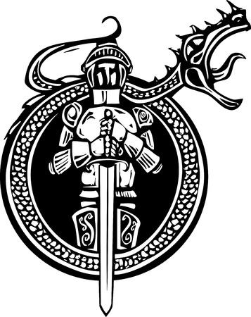 cavaliere medievale: Xilografia stile cavaliere in un cerchio con aa ruggente drago
