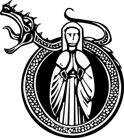 Woodcut style medieval lady in a circle with a roaring dragon Stock Vector - 20363613