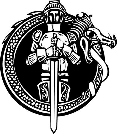 xilografia: Grabado en madera caballero medieval de estilo en un círculo dragón