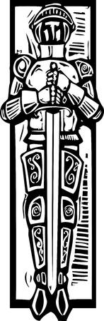 같은 목 판화 스타일 중세 기사는 성당 무덤에서 볼 수있는 스톡 콘텐츠 - 20363612