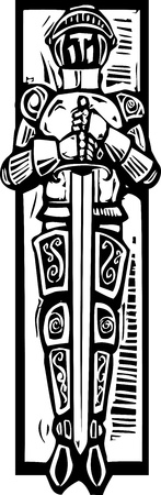 Woodcut style medieval knight like one might see in a cathedral tomb  Illustration