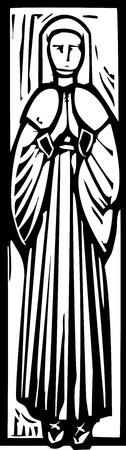 Woodcut style medieval lady or saint like one might see in a cathedral tomb