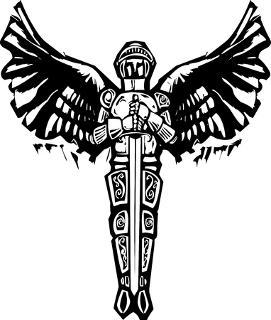 Archangel Michael in armor and sword in woodcut style image  Vettoriali