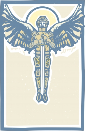 michael: Archangel Michael in armor and sword in woodcut style image  Illustration