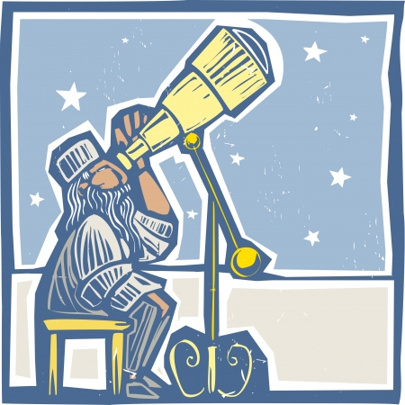 astrologer: Islamic Astronomer from North Africa watches the night sky  Illustration