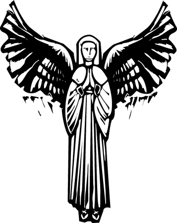 Woman Angel with wings praying in a woodcut style image Vectores