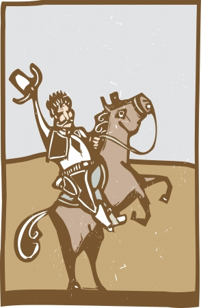 Simple woodcut style image of a cowboy on a house wave his hat  Çizim