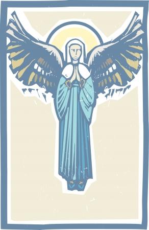天使の翼を聖母マリアの木版画のスタイル イメージ  イラスト・ベクター素材