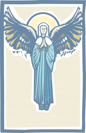 virgin mary: Woodcut style image of the Virgin Mary with angel wings  Illustration