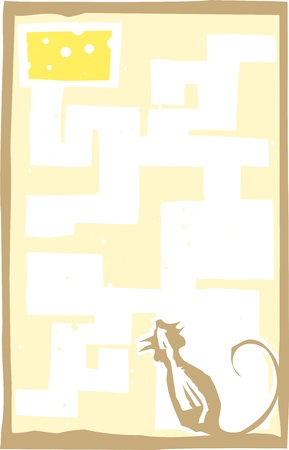 Woodcut style expressionist image of a mouse in a maze with cheese