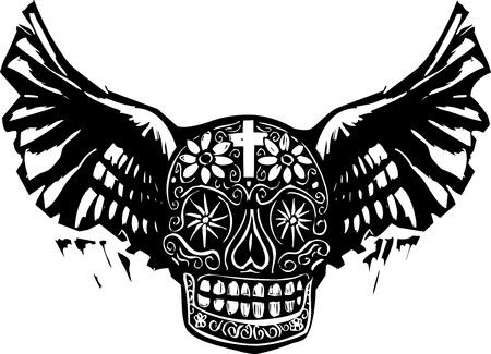날개를 가진 죽은 두개골의 멕시코 오늘의 판화 스타일 이미지