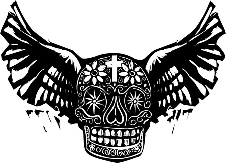 Woodcut style image of a Mexican Day of the Dead skull with wings