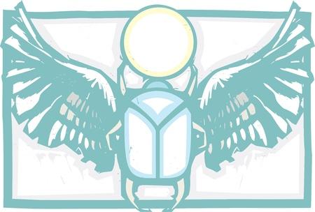 scarabeo: Xilografia stile di scarabeo alato egiziano tiene il sole